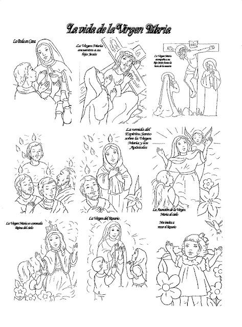 La vida de la Virgen María para colorear