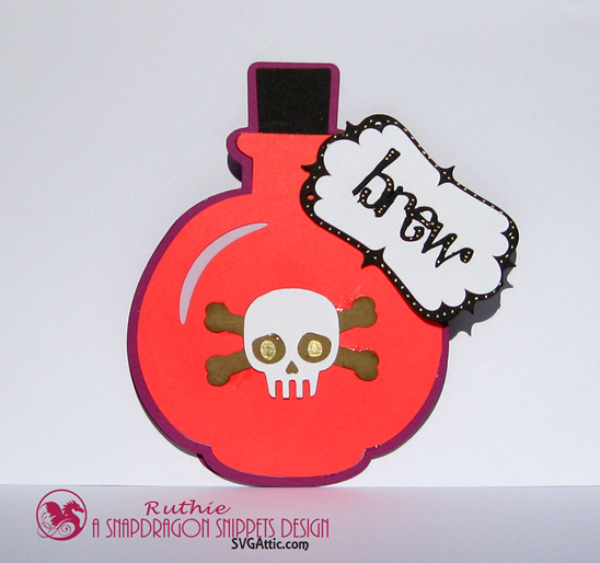 SnapDragon Snippets  - Potion Brew Bottle a6 card -Halloween Card -  Ruthie Lopez