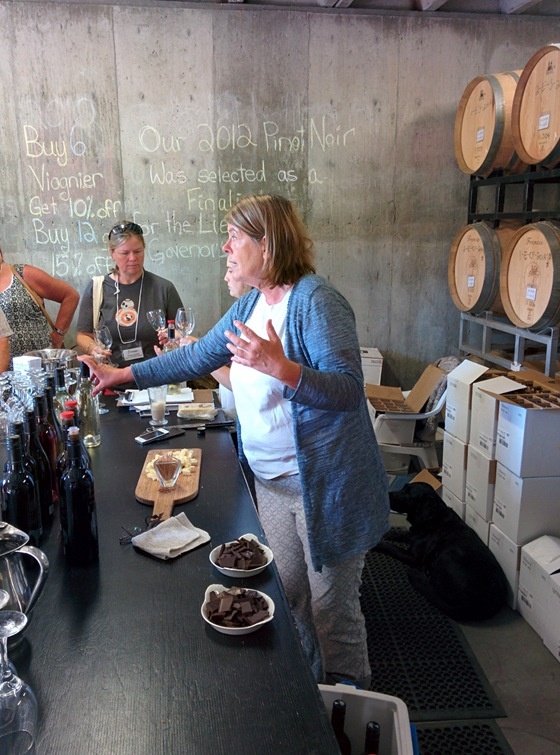 Serendipity Proprietor Judy Kingston pours in the tasting room