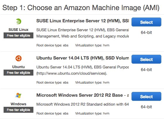 Select Amazon Operating System