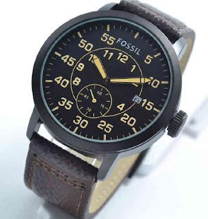 jam tangan Fossil date chrono swcond dark brown