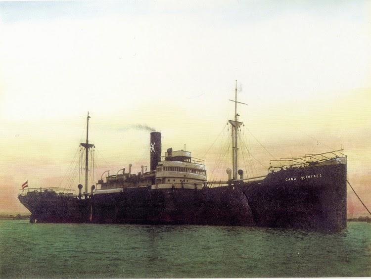El vapor CABO QUINTRES en una foto coloreada artificialmente. Del libro La Naviera Ybarra.jpg
