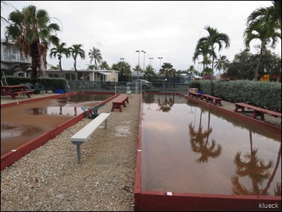 bocce ball courts, flooded