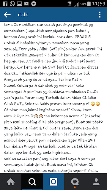 Dato Siti Nurhaliza Keguguran