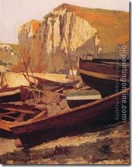 41771-Jean-Paul Laurens-Barques au pied dune falaise en Normandie