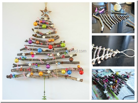 Manualidades rbol navidad con ramas secas - Como decorar un arbol seco ...