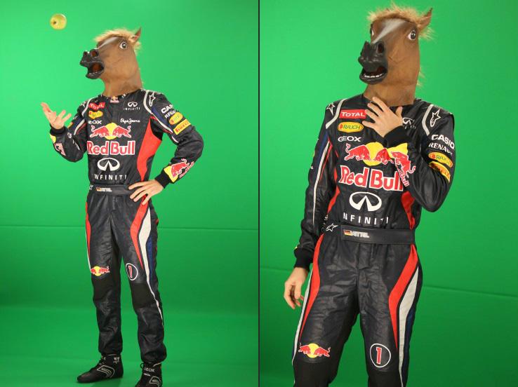 Себастьян Феттель в маске лошади и яблоко - фотосессия RTL на зеленом экране