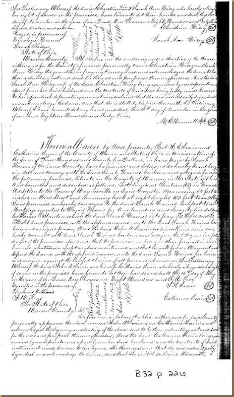 John A. Irwin,Catharine Irwin Warren Co, OHconveySarah Haines 1852 1
