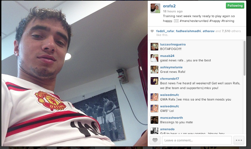 Screen+Shot+2013 09 04+at+09.23.50 Man United full back Rafael confirms on Instagram he will return to training next week