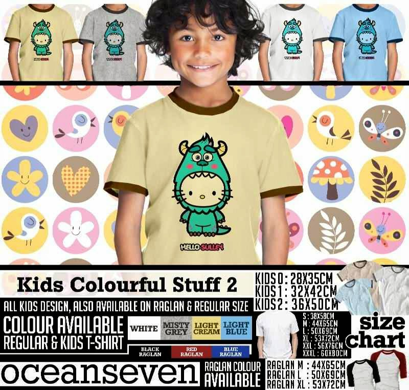 Kaos anak Kids Colourful 2 Lucu Gambar Monster Hello Sulley distro ocean seven