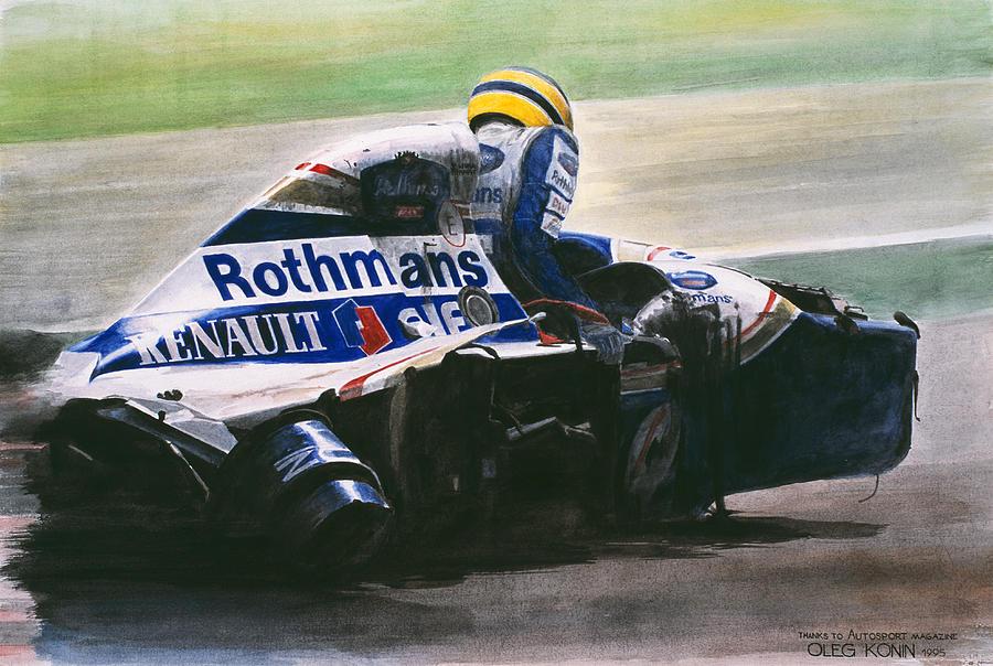 Айртон Сенна вылазит из разбитого Williams на Гран-при Сан-Марино 1994 - картина Oleg Konin
