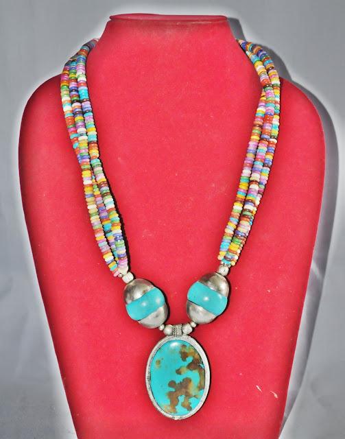 Turquoise Stone Bone Necklace