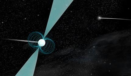 ilustração de um pulsar ao redor de uma estrela de nêutrons