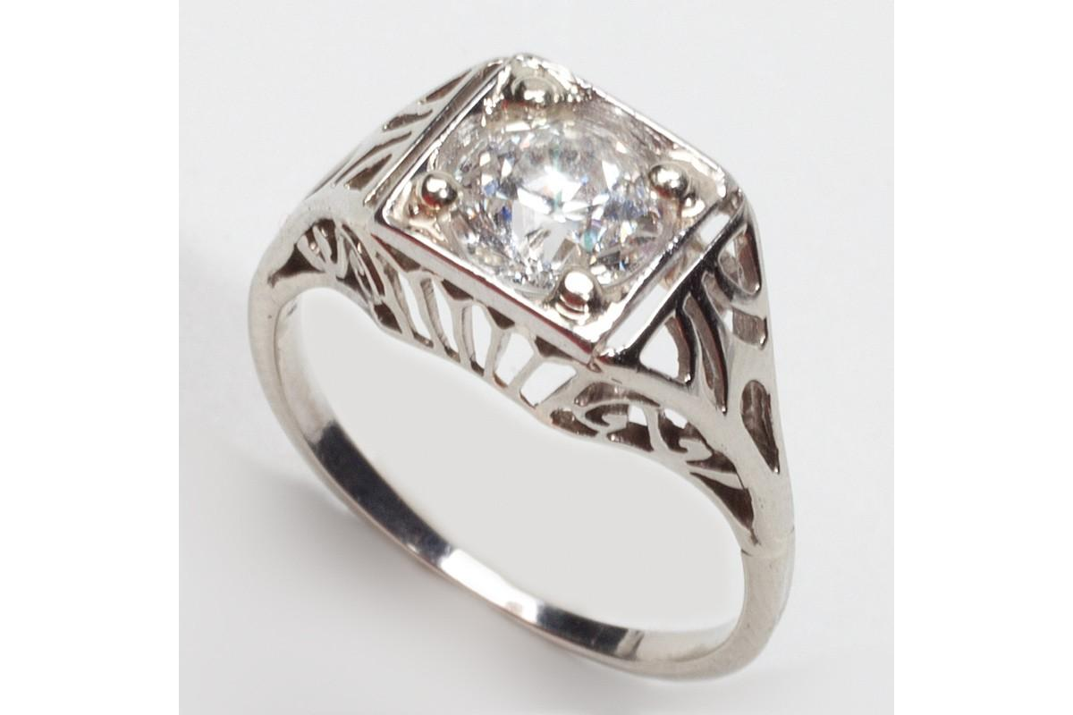 Antique Deco Platinum Diamond Engagement Ring Jewelry - Engagement - Rings