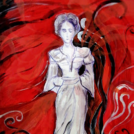 Lady in pray by Vesna Disich - Painting All Painting ( contrast, small forms, red, art, painting )