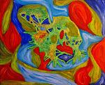 Im Traum. Mixed Media auf Malplatte, 50 x70 cm