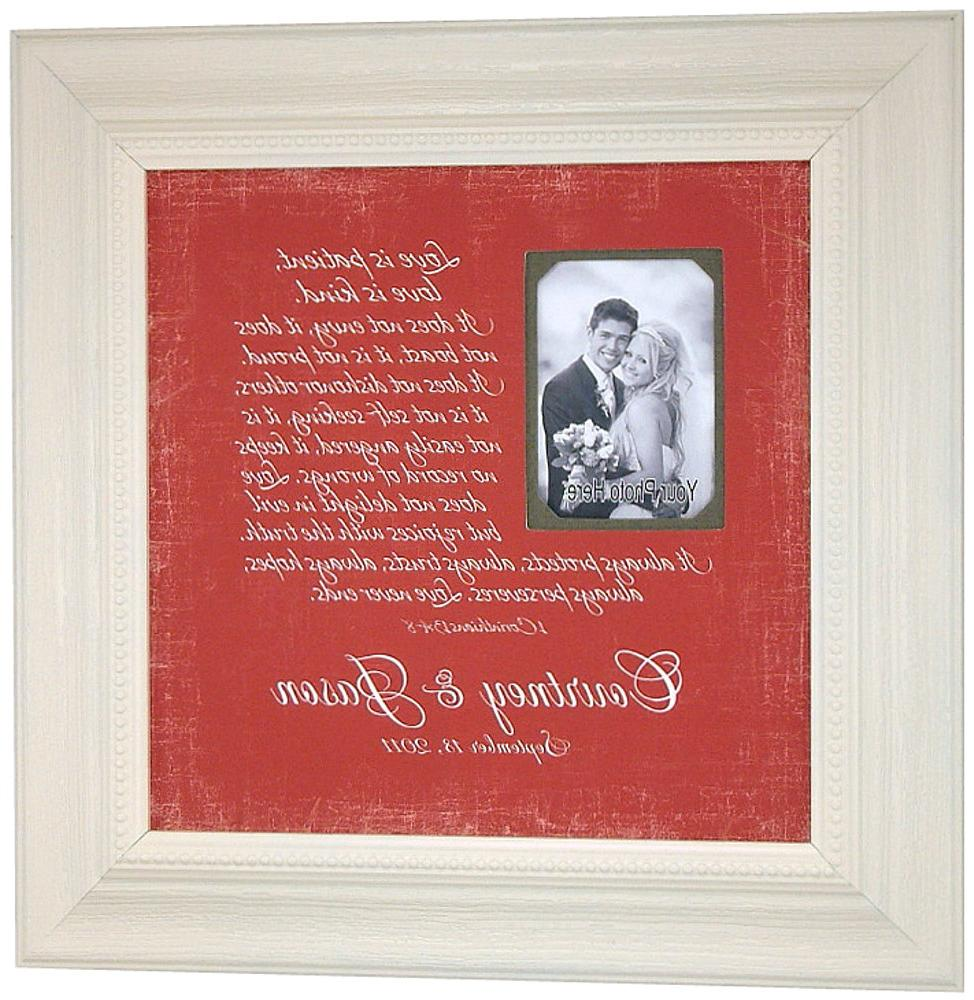 Personalized Wedding Picture Frame Bride Groom LOVE IS PATIENT Corinthians