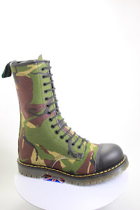 tall vegan camouflage thigh boots made in the UK with a steel toe cap and strong comfortable three layer Solovair sole