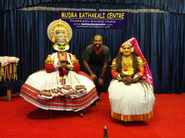 Posing with Kathakali artists at Thekkady