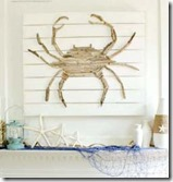 coastal mantel with driftwood crab art