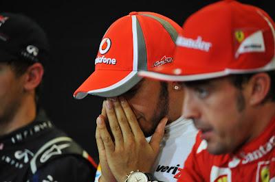 Льюис Хэмилтон и Фернандо Алонсо на пресс-конференции после гонки на Гран-при США 2012