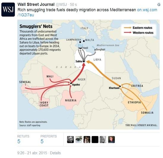 mapa de l'origina africana de l'immigracion sul continent europèu