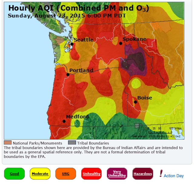 Hourly Air Quality Index (AQI) for the Northwest U.S., 23 August 2015. Graphic: AirNow.gov