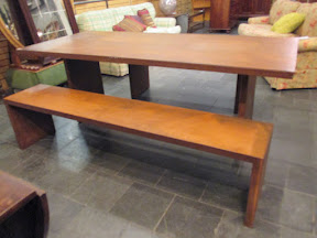 Industrial Table and Bench Pair