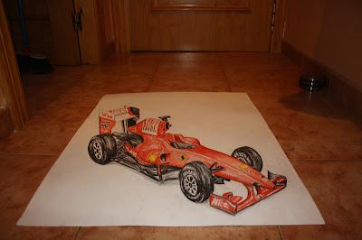 анаморфный арт Ferrari рисунок