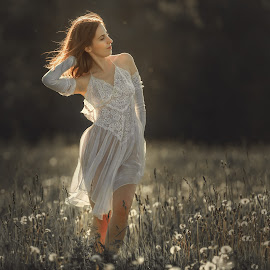 Angel summer by Dmitry Laudin - People Fashion ( contrast, field, lace, girl, nature, grass, dress, beautiful, summer, smile, dandelions, light, sun )