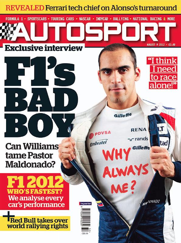 Пастор Мальдонадо на обложке Autosport от 9 августа 2012