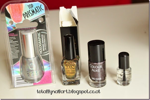 Dance Legend - Top Prismatic ; F.U.N Lacquer - Philia (H) ; Color Alike - 500 ; Seche Vite Mini