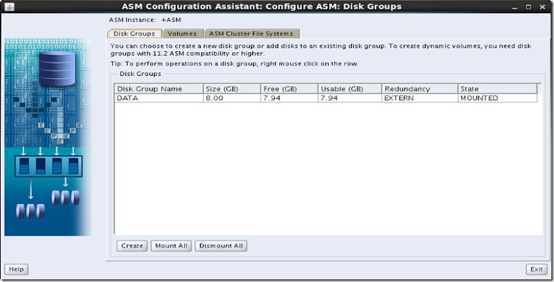 ASMCA Disk Groups