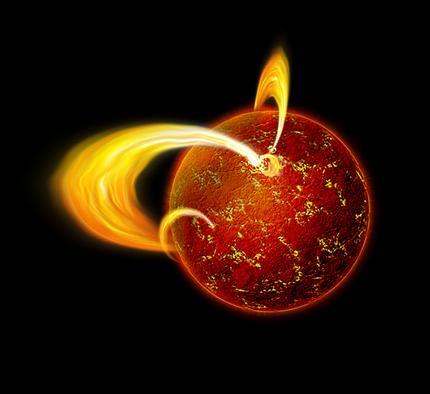 ilustração de uma estrela de nêutrons com intensos campos magnéticos