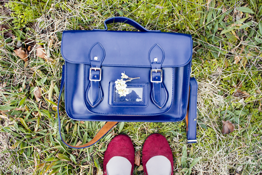 Navy Satchel & Maroon Shoes | Lavender & Twill