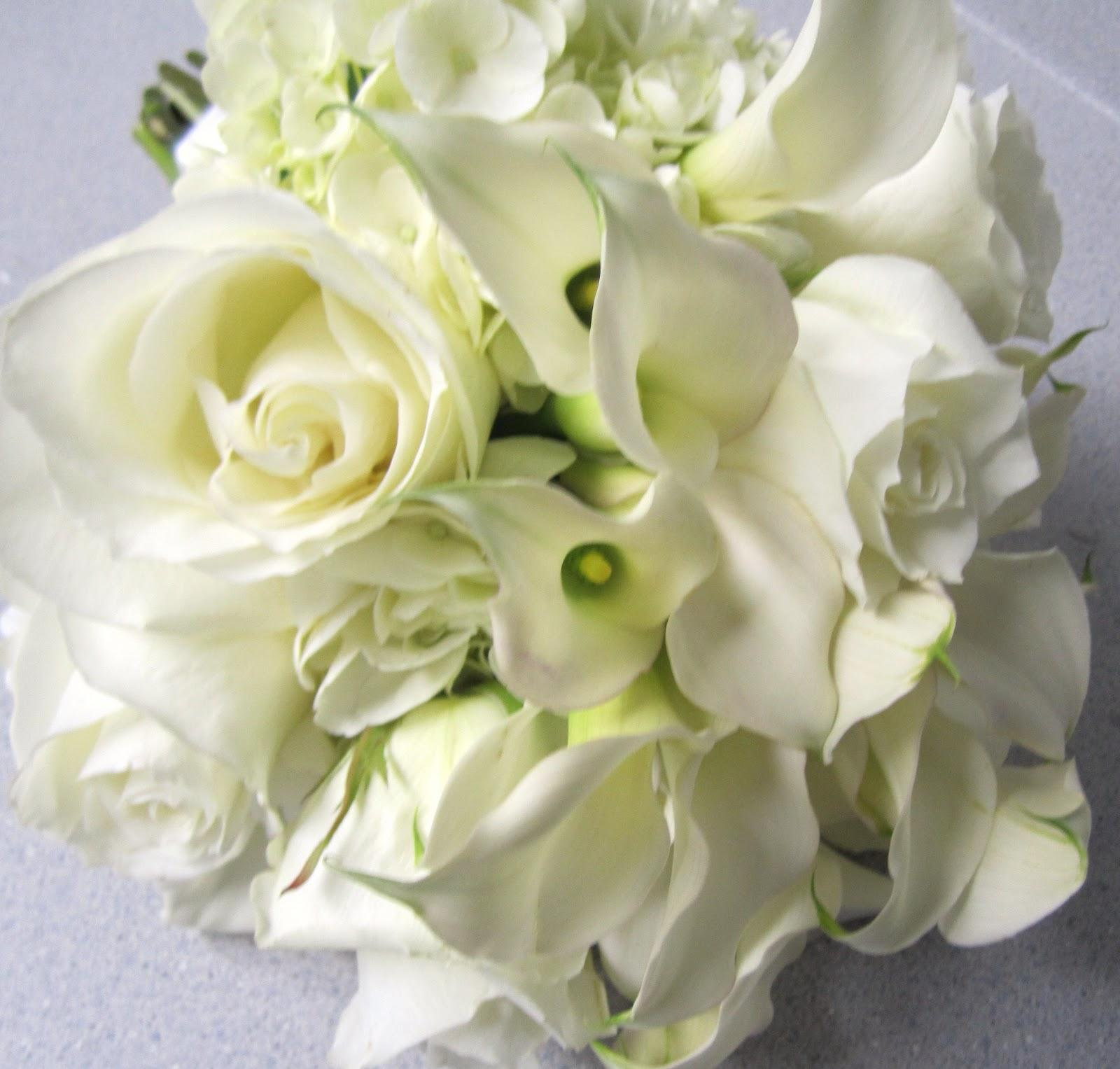 All white mini calla lilies,
