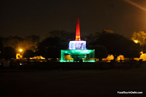 Fountains in colours of Indian flag http://indiafoodtour.com  http://foodtourindelhi.com