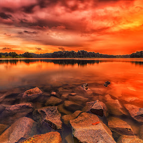 Evening Red Hour by Lb Chong Jacobs - Landscapes Waterscapes (  )