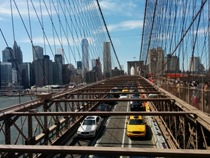 A Brooklyn Bridge traffic and pedestrian action