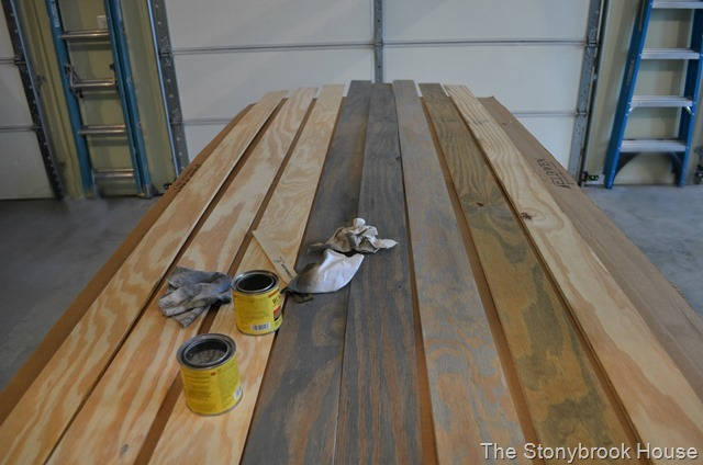 Staining wood planks