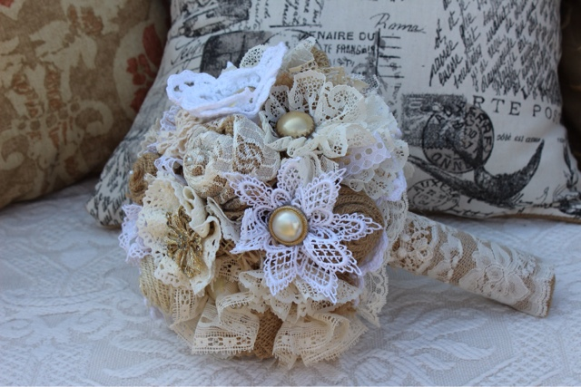 burlap and lace bridal bouquet with vintage jewelry