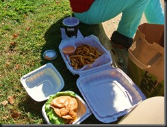 """The """"to Go"""" look on the lawn.   Beateating with a crowd of Zombies.."""