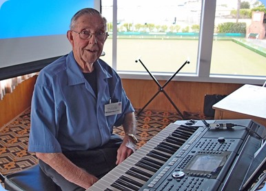 Michael Bramley preparing to play his Yamaha PSR-S950 for his performance. Photo courtesy of Dennis Lyons.