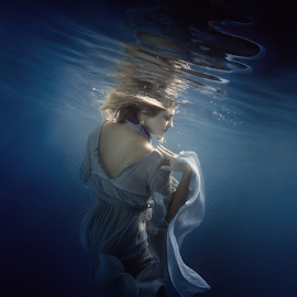 Lace of light by Dmitry Laudin - People Portraits of Women ( dress, beauty, blue, white, lace, light, underwater, girl, water )