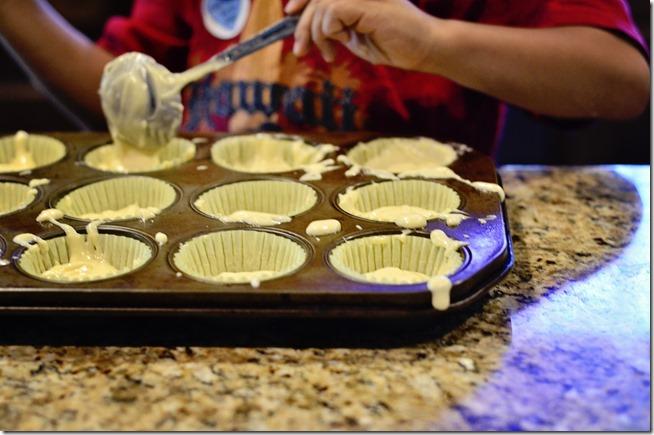 messy cupcake making