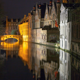 Night Reflections in Brugge by Michael Borg - Buildings & Architecture Public & Historical ( reflection, white, buildings, reflections, bridge, gold, historic )