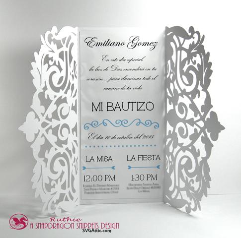 SnapDragon Snippets - Gorgeous Invitation - Baptims Invitation - Invitacion de Bautismo - Ruthie Lopez