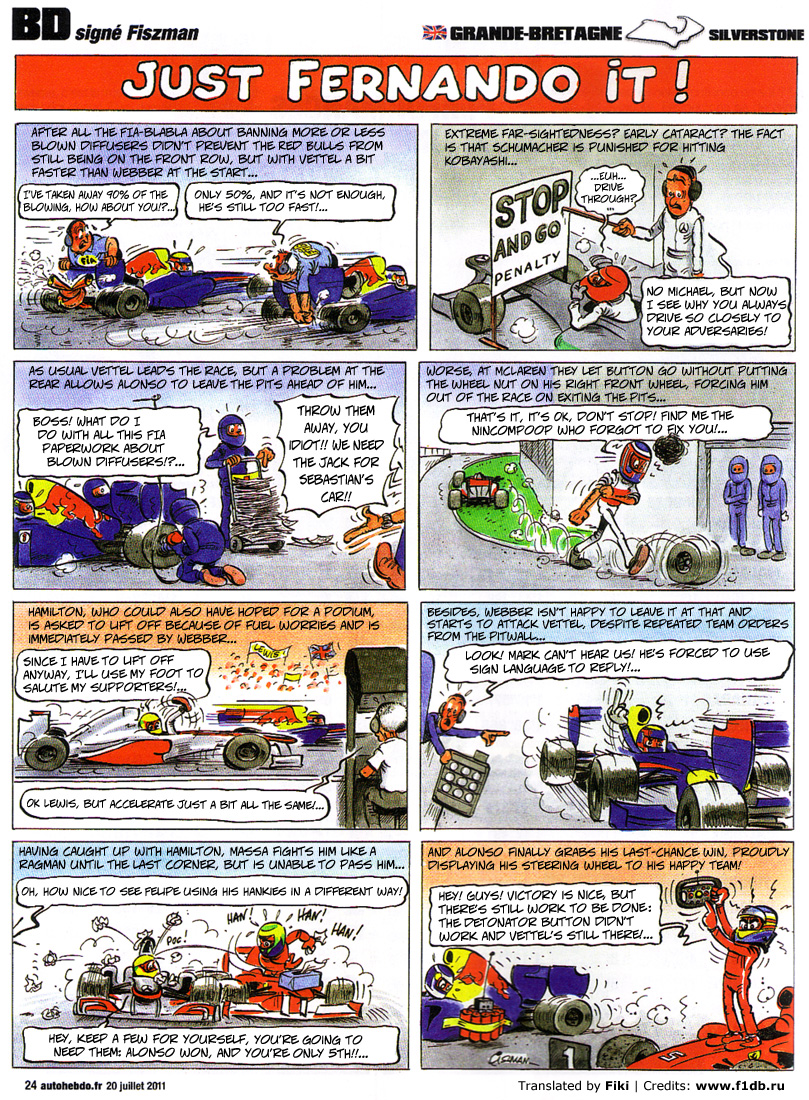 Fiszman's race-cartoons on 2011 British GP in English