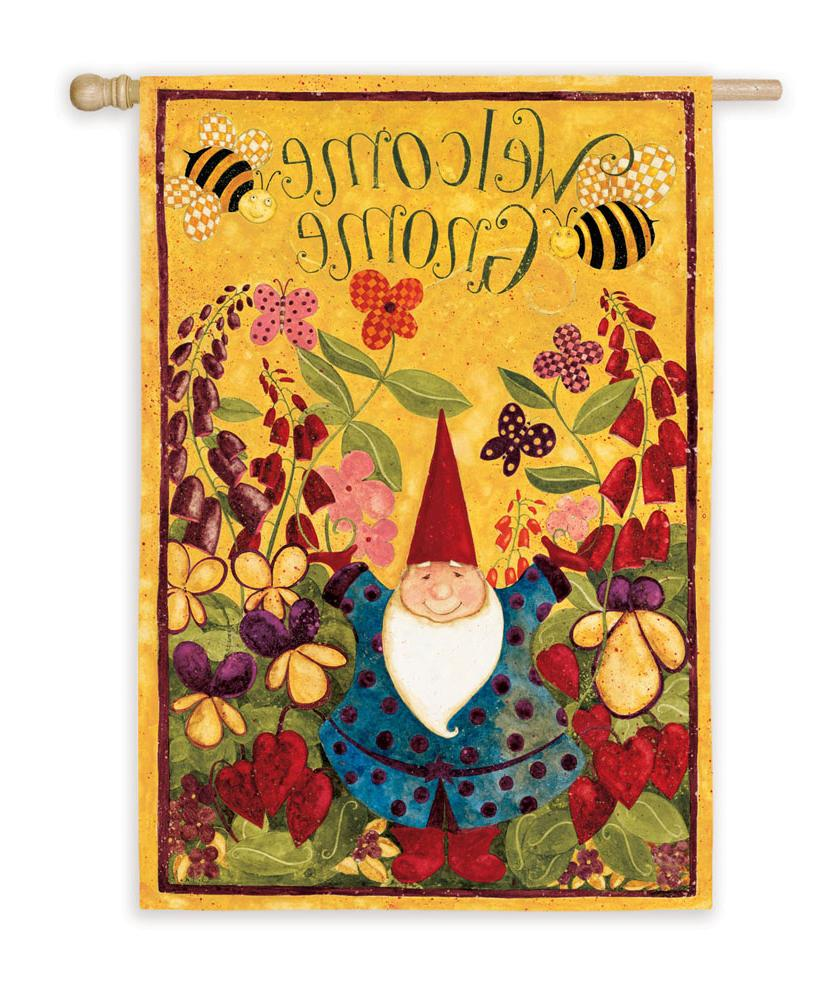 Welcome Gnome Garden Flag by