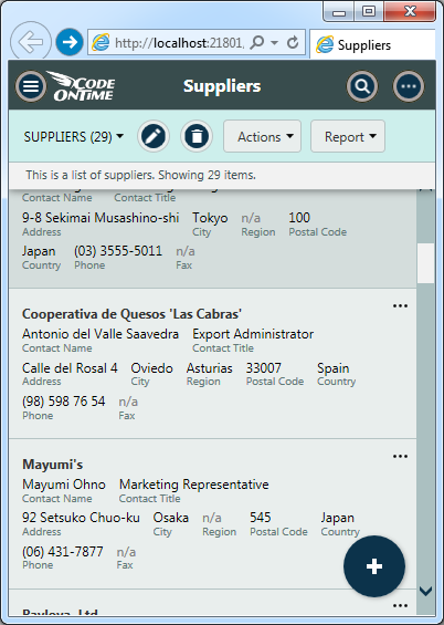 List view of suppliers in the app created with Code On Time.